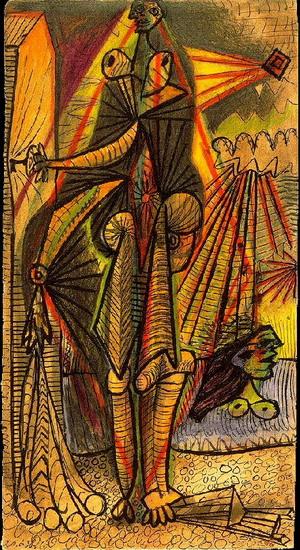 Пабло Пикассо. Купальщицы  у кабинки. 1938 год