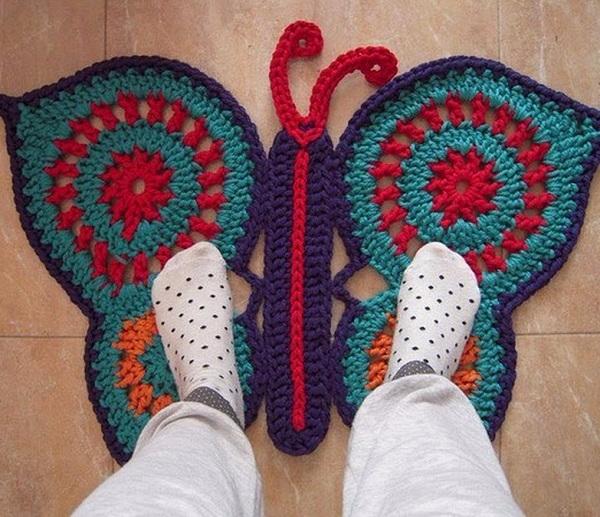 Коврики- бабочки крючком: схемы