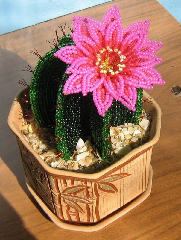 Бисер цветок для кактуса