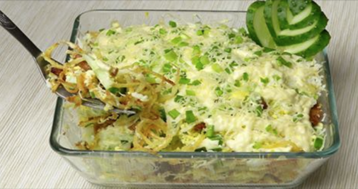 Самый вкусный куриный салат с картофелем я думаю он тебя удивит своим вкусом