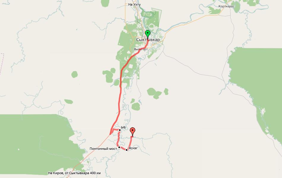 2. Схема поездки в Лес. Расстояние около 70 км. От «Вятки» отъехали совсем недалеко.
