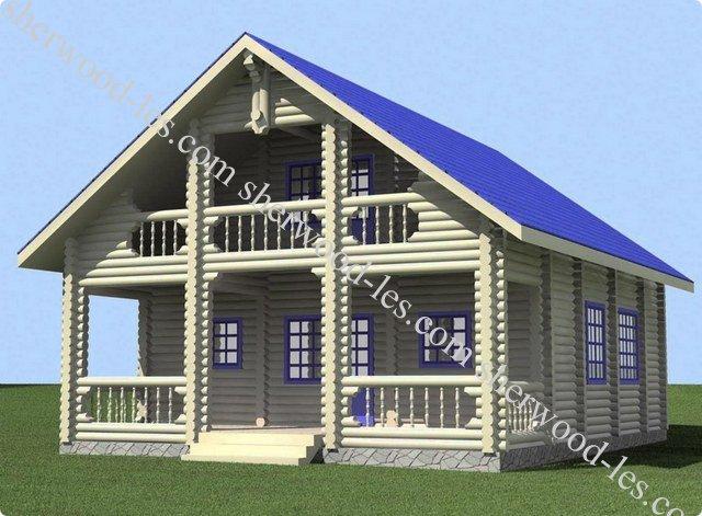 Тип 12 - Загородный дом 8,55*11,5 из оцилиндрованного бревна