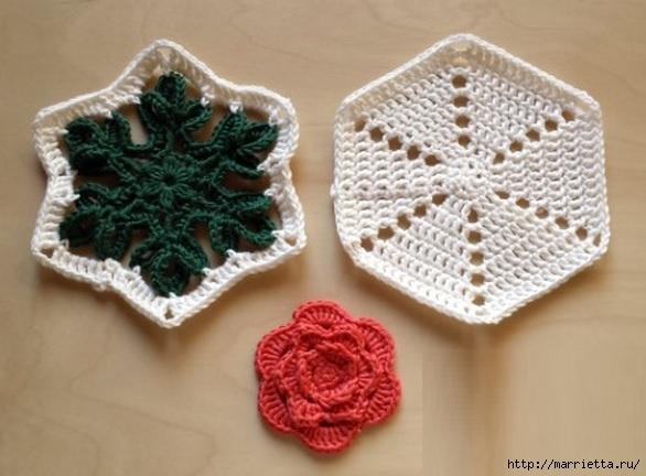 Вязание крючком. Прихватка с объемной розой (4) (586x432, 138Kb)
