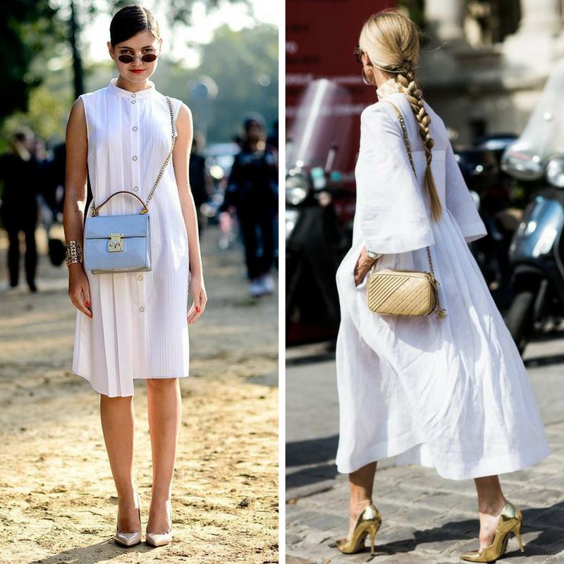 Белый цвет с аксессуарами и обувью металлик