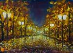 Ночной городской пейзаж: Одинокий ночной парк. Пейзаж маслом.