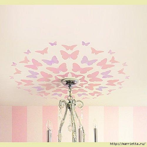 Порхающие бабочки в интерьере. Трафареты для стен и потолка (38) (500x500, 81Kb)