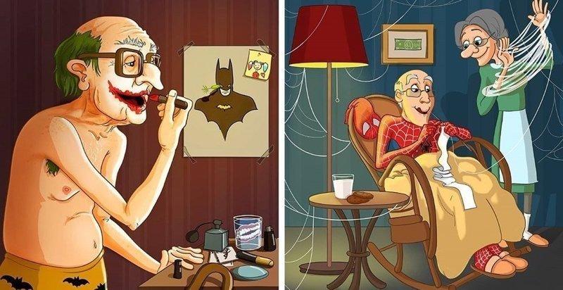 Художница изобразила супергероев, вышедших на пенсию