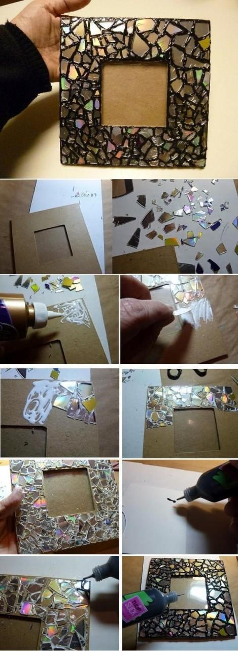 DIY Old CD Mosaic Mirror Frame
