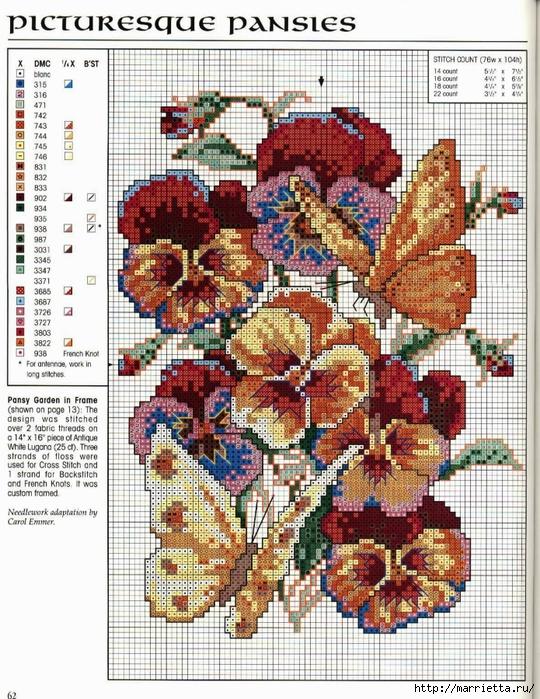 Схема вышивки панно. АНЮТИНЫ ГЛАЗКИ и бабочки (3) (540x700, 411Kb)
