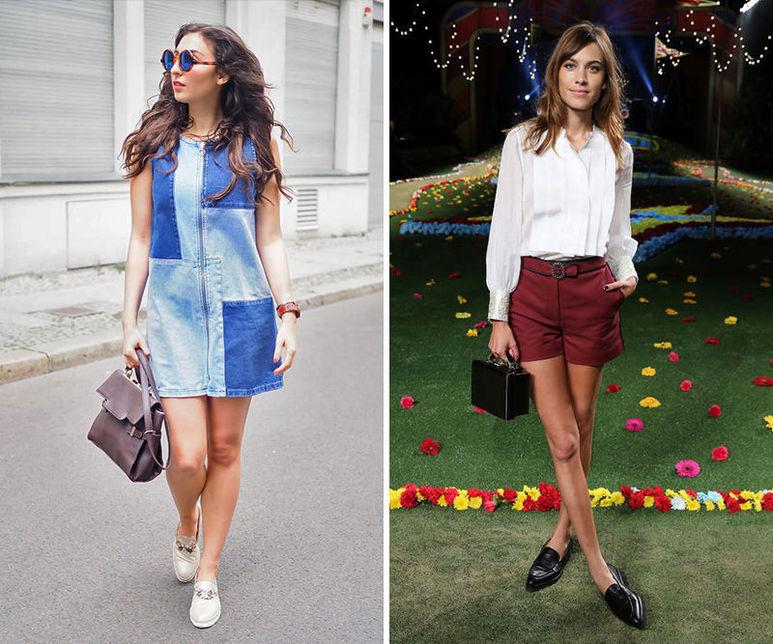 Лоферы отлично подходят к повседневному платью и коротким шортам