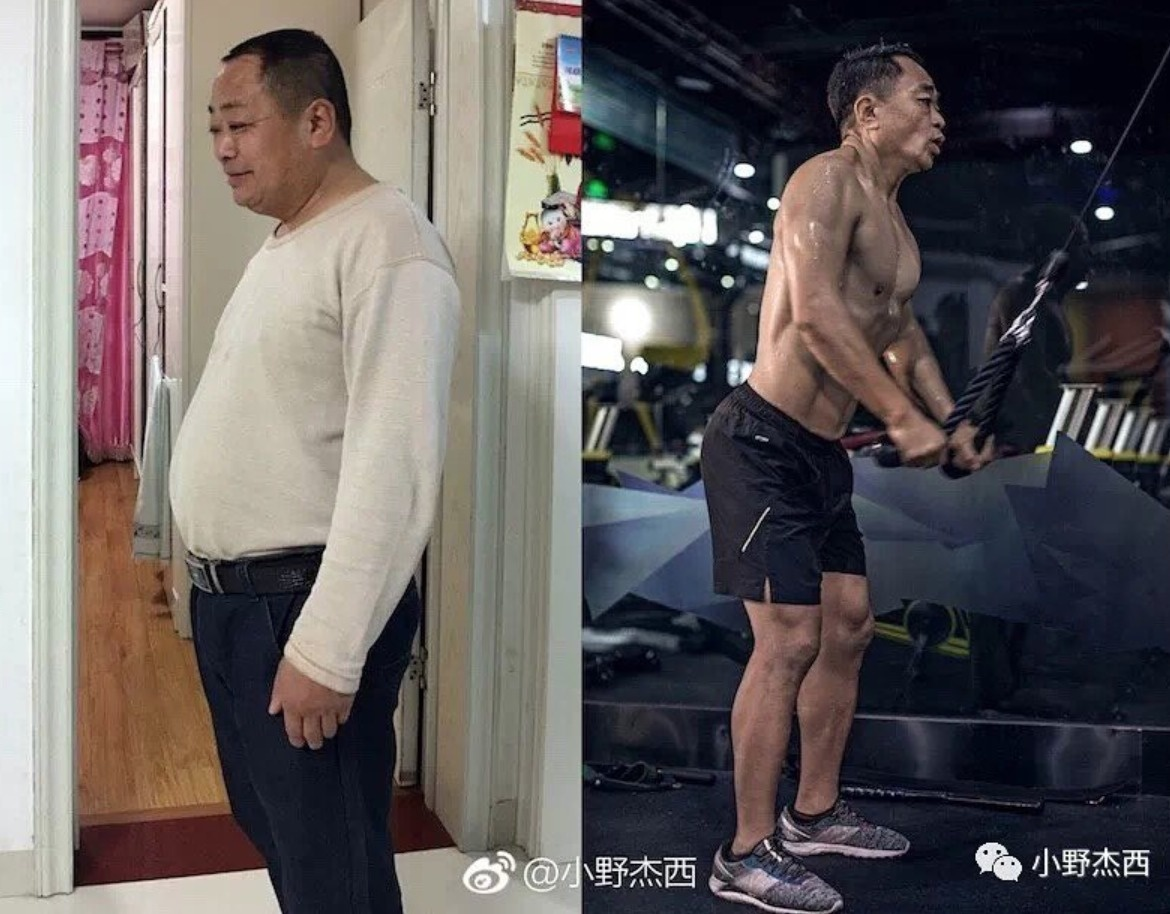Jesse's dad looks so much happier and confident now that he's taking care of his body, constantly.
