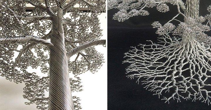 скульптуры деревьев из проволоки клайв мэдиссон (4)