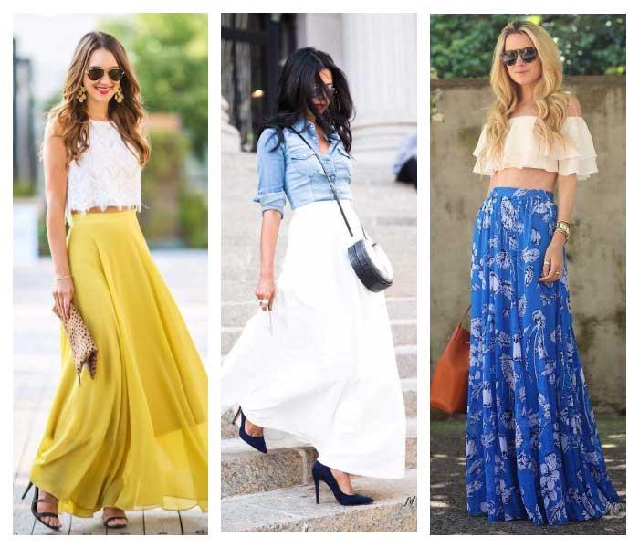 Цветные длинные юбки