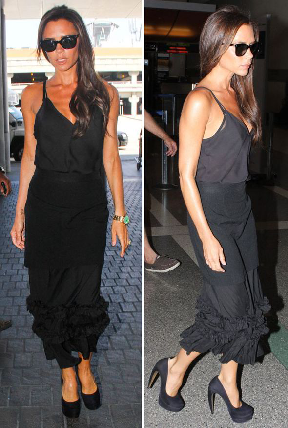 Victoria wore a silky camisole with a midi-length ruffled skirt