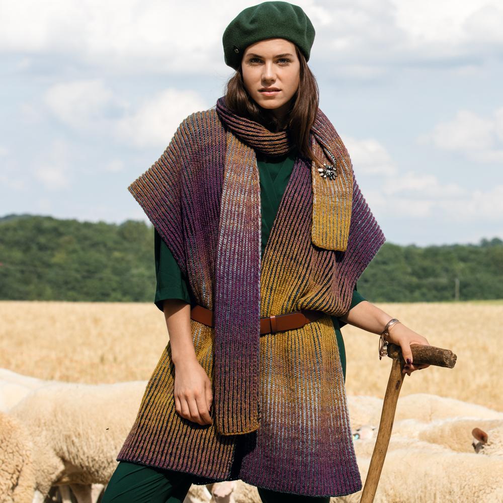 Пончо и шарф с эффектом деграде