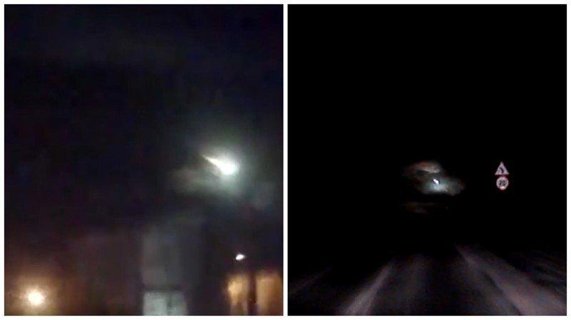 В сеть попало видео упавшего метеорита на Мурманск