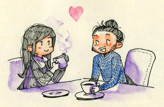 В кофейне Любовь, история, комикс, любовь на расстоянии, рисунки, романтика, творчество, художник