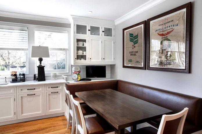 кожаный кухонный диван