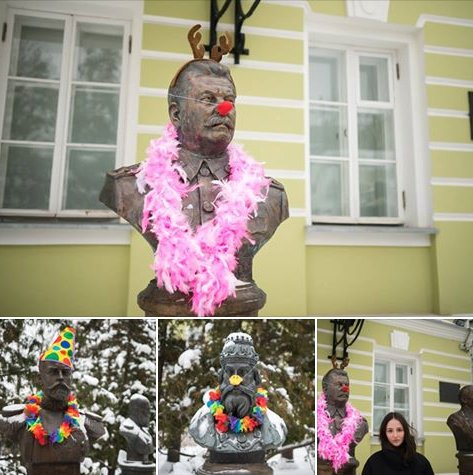 Московский депутат Люся Штейн нарядила бюсты Сталина и Николая II в клоунов