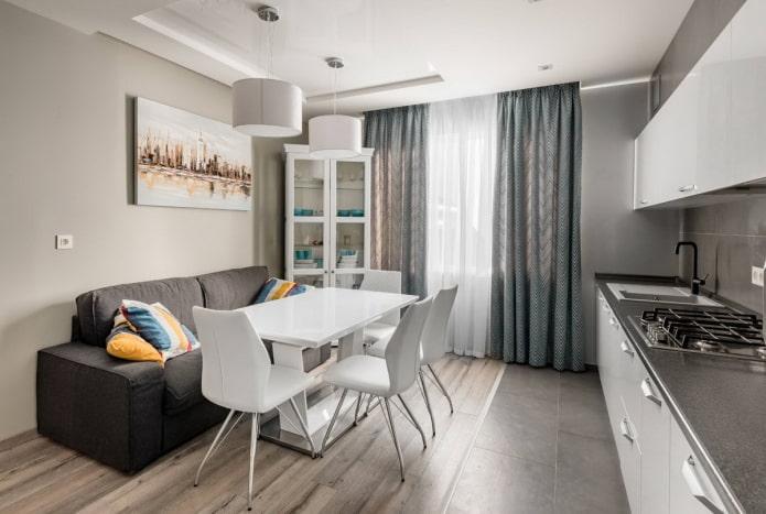 серый диван на кухне