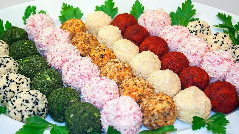закуска цветные шарики