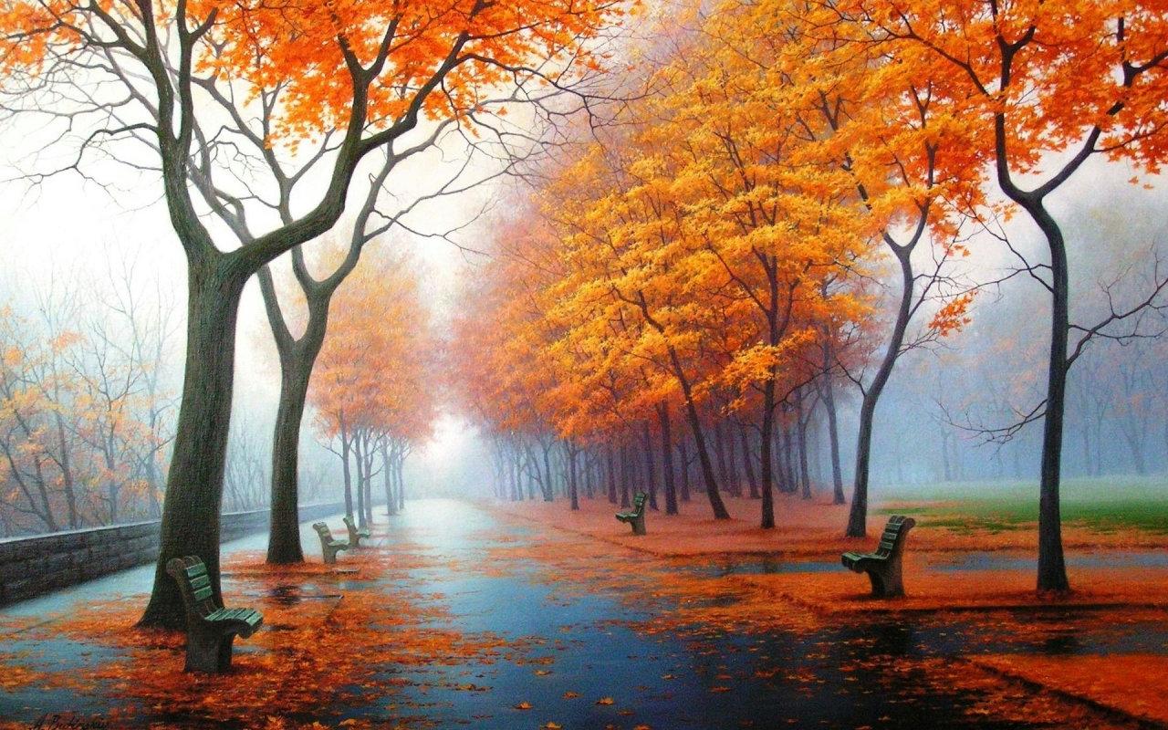 Падает осенний дождь теплый свежий