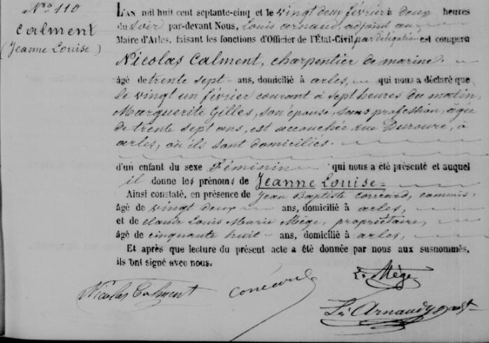 Свидетельство о рождении Жанны Кальман. /Фото:wikipedia.org
