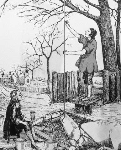 "Original caption: Stephen Hales, the Father of blood pressure"", was the first to take an actual measurement of the height to which a horse's blood rose in a glass tube when connected with the animal's carotid artery. Hales, who was an Anglican minister, made these experiments on the grounds of his parsonage. Hales' book describes the details in 1733. --- Image by © AS400 DB/Corbis"