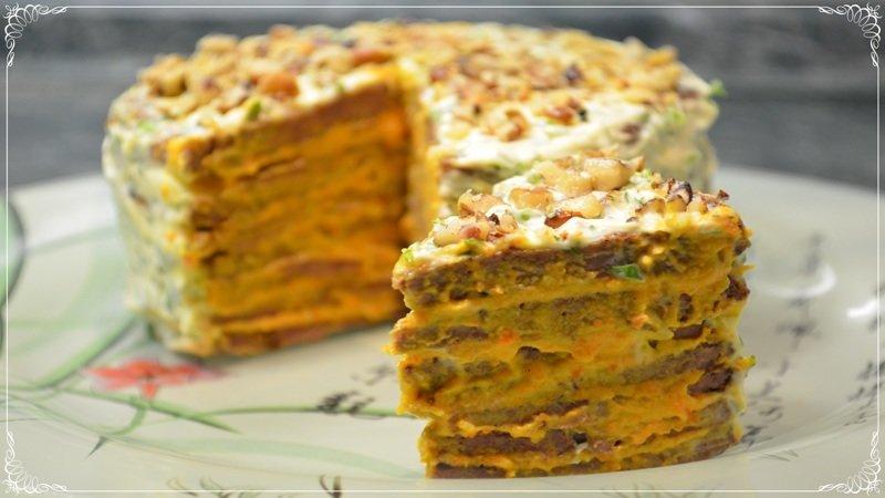 Ну, Очень Вкусный Печеночный Торт! Пошаговый рецепт на Новогодний стол 2018 [Семейные рецепты] закуска, как приготовить, новогоднее меню, новогодний стол, печеночный торт, праздничный стол, рецепты, семейные рецепты