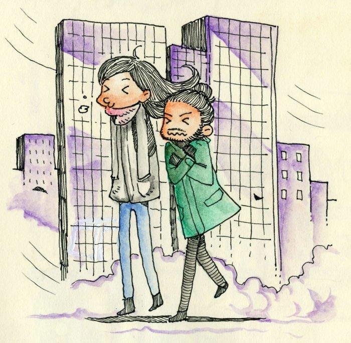 Холодная погода Любовь, история, комикс, любовь на расстоянии, рисунки, романтика, творчество, художник