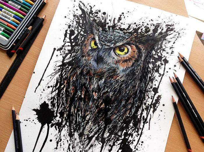 Экспрессивные рисунки, созданные при помощи обычных цветных карандашей
