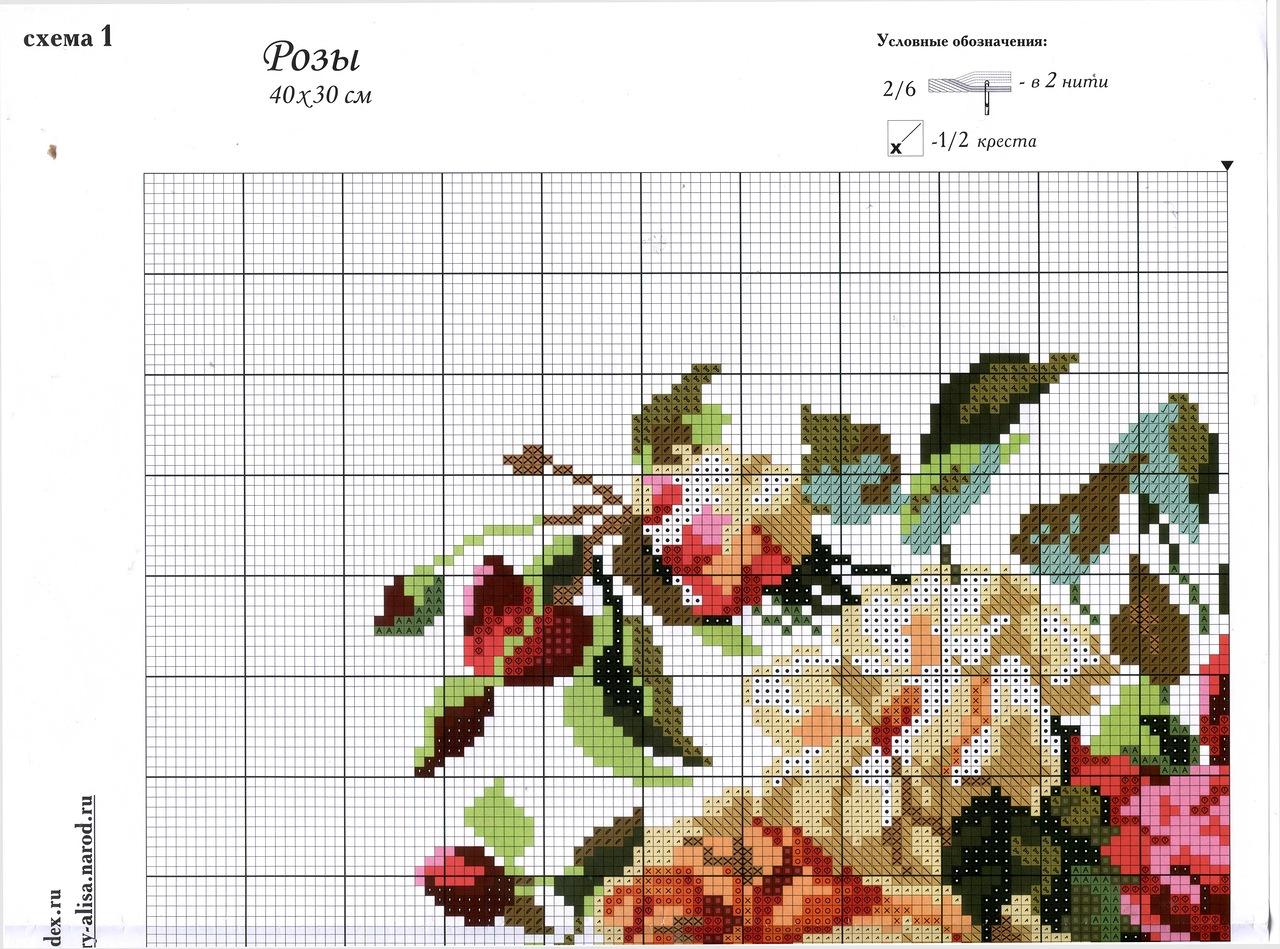 Подробные схемы вышивки крестом розы 29