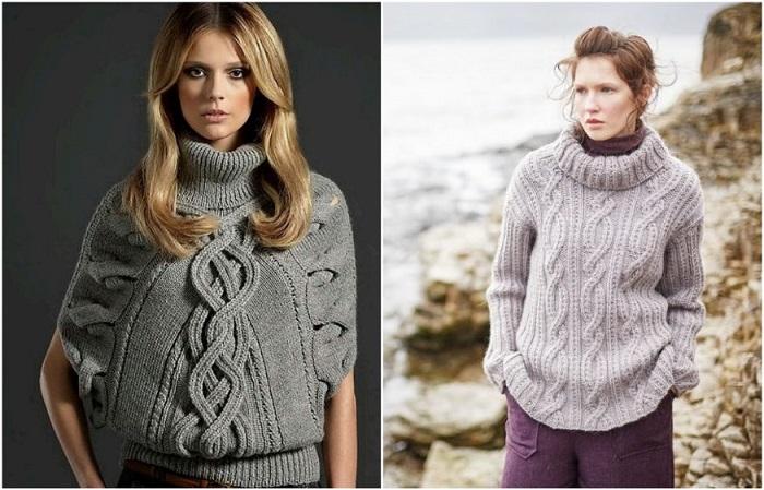 Косы и араны на свитере противопоказаны полным девушкам