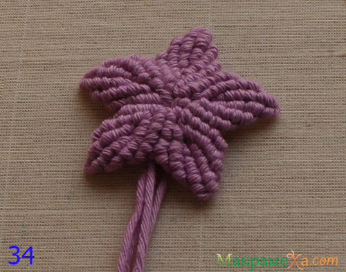 Цветок макраме на двух нитях