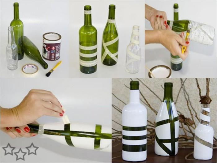 Вазы с геометрическими узорами из стеклянных бутылок.