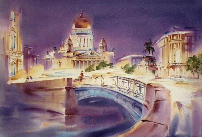Город- сказка — удивительный акварельный Петербург Константина Куземы
