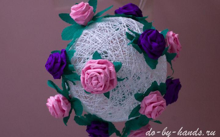 Шар цветы из гофрированной бумаги своими руками