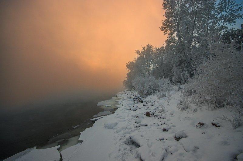 Сибирские морозы. Фотографии с берега Енисея