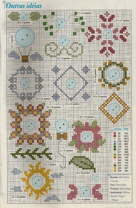 Украшаем текстильные салфетки пуговичками и вышивкой. Схема (2) (458x700, 457Kb)