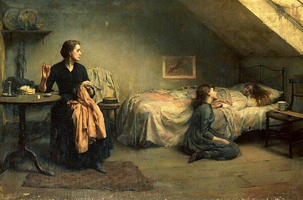 """Томас Бенджамин Кеннингтон (1856-1916). """"Вдова и сироты"""""""