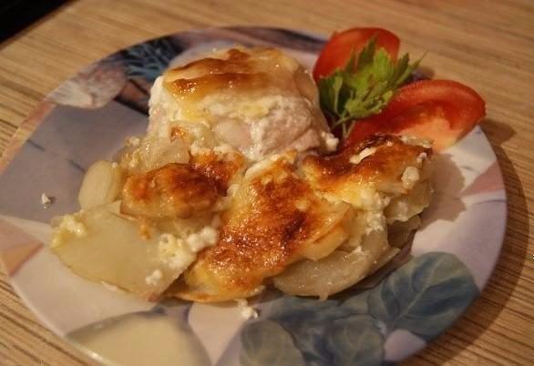 Запеченный картофель с курицей на круговой