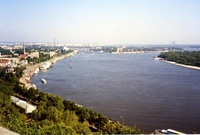 Панорама Днепра в Киеве. СССР, Киев, 1985 год.