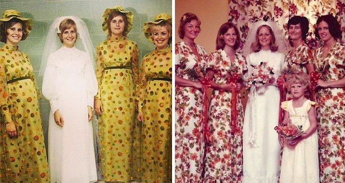 30 смешных и нелепых нарядов подружек невесты Подружка невесты, винтажные фото, мода, наряды, свадебные платья, свадебные снимки, смешное, юмор