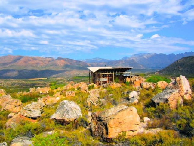 Кабина с крышей-бабочкой в горах Цедерберг, Южной Африке