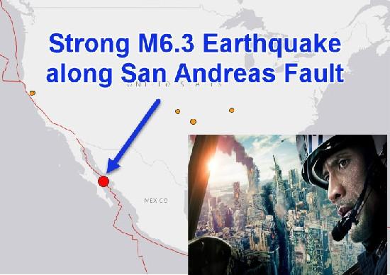 Сильное землетрясение магнитудой 6.3 на разломе Сан-Андреас