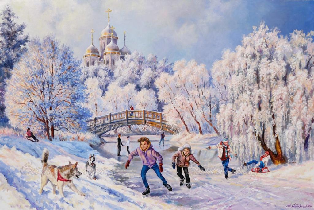 «Открыл декабрь врата зимы» Художница Самарская Елена Михайловна