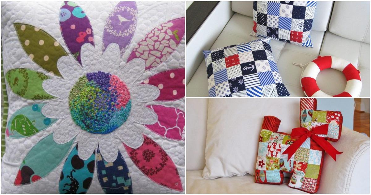 Декоративные подушки в технике пэчворк — лоскутное разнообразие, радующее глаз