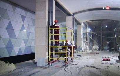 """На станции метро """"Селигерская"""" идут отделочные работы"""
