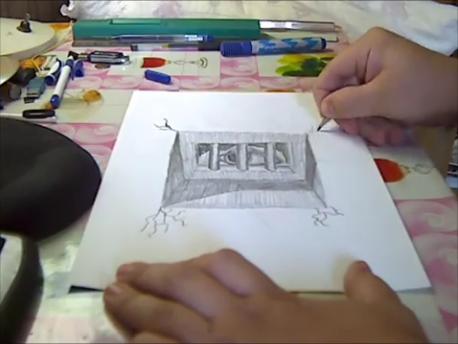 "Объёмный рисунок карандашом, ""Узница Титана"""