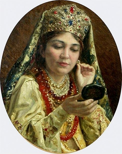 84177938_Vladimir_Egorovich_Makovskiy_Devushka_smotryaschayasya_v_zerkalo__primeryayuschaya_sergi__1916